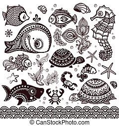 Vector set of fish and flowers with ornaments - Vector set...