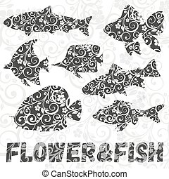 Vector set of fish silhouettes with flower pattern on background.