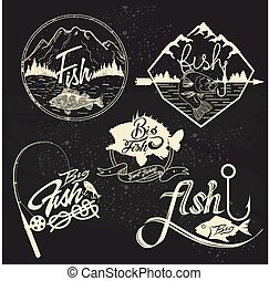Vector set of fishing club labels, design elements, emblems, badges. Isolated logo illustration in vintage style.
