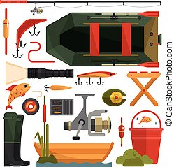 Vector set of fishing equipment icons in flat style