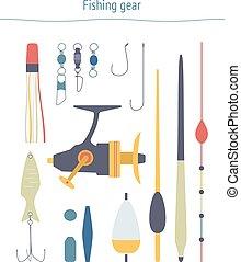 Vector set of fishing equipment