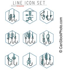 Vector set of fishing hooks line icons with different knots....
