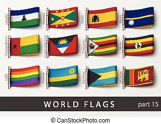 Vector set of flag labels