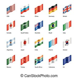vector set of flags of the G20