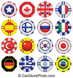 flags on casino tokens - vector set of flags on casino...