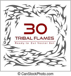 vector set of flame elements