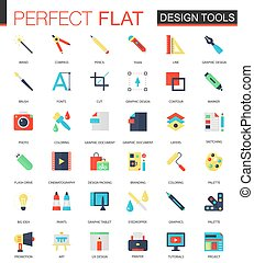 Vector set of flat App Design tools icons