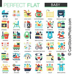 Vector set of flat Baby kid icons.