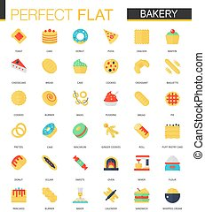 Vector set of flat Bakery food icons.