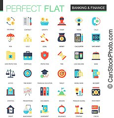 Vector set of flat Banking finance icons.