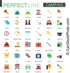 Vector set of flat Camping Hiking icons.