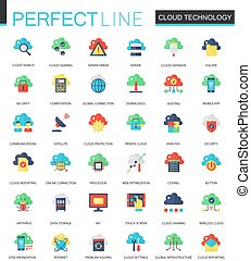 Vector set of flat Cloud data technology icons.