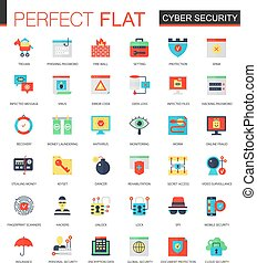 Vector set of flat Cyber security icons.