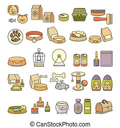 Vector set of flat design cute colorful pet icon.