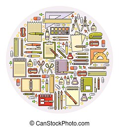 Vector set of flat design cute colorful stationery icon.