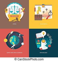 Vector set of flat design illustration concepts for civics...