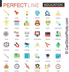 Vector set of flat Education icons.