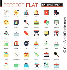 Vector set of flat Entertainment icons