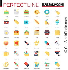 Vector set of flat Fast food icons.