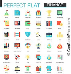 Vector set of flat Finance icons.