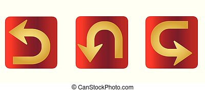 Vector set of flat golden arrows for web site - guides, pointers.