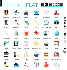 Vector set of flat Kitchen icons.