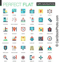 Vector set of flat location, map and Gps navigation icons.