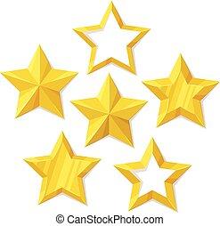 Vector set of flat metallic golden stars