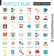 Vector set of flat Online education icons.