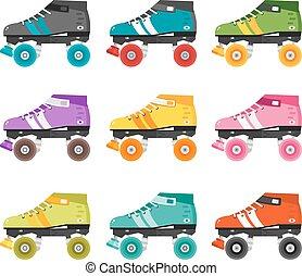 Vector set of flat quad roller skates.