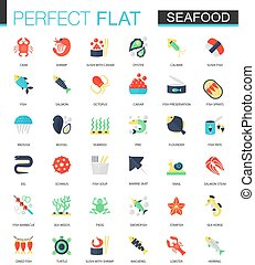 Vector set of flat Seafood icons.