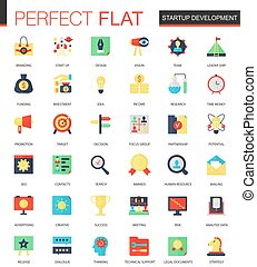 Vector set of flat Startup and development icons.