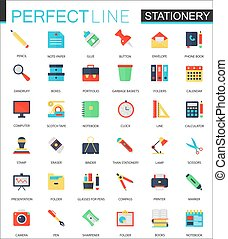 Vector set of flat Stationery icons.