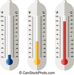 vector set of flat thermometer icons