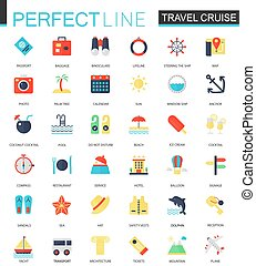Vector set of flat Travel cruise icons.