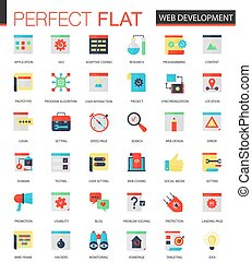 Vector set of flat Web development icons.
