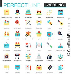 Vector set of flat Wedding icons.