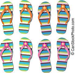 flip flops with flowers - vector set of flip flops with ...