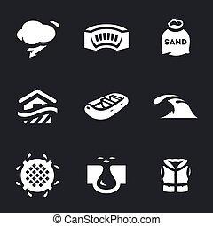 Vector Set of Flood Icons. - Rain, dam, sandbag, building,...