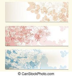 Vector set of floral backgrounds