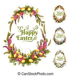 Vector set of floral color eggs for Easter