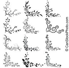 Vector set of floral corners on white background