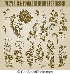 Vector set of decorative elements for design. Floral vintage collection.
