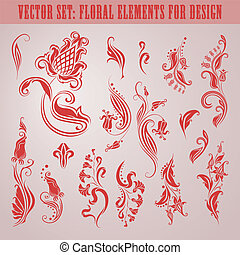 Vector set of floral elements