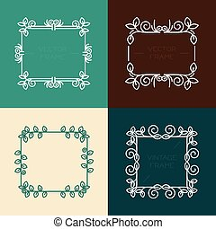 Vector set of floral frames in line