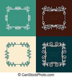 Vector set of floral frames in line