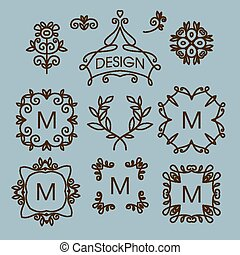 Vector set of floral line design elements for logos