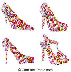 floral shoes - vector set of floral shoes