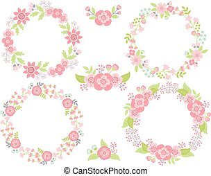 Vector Set of Floral Wreaths and Bouquets - Vector set of...