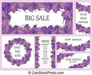 Vector set of flower banners. Big sale. Menu. Wedding. Design templates. Lilac crocus flowers on a white background.